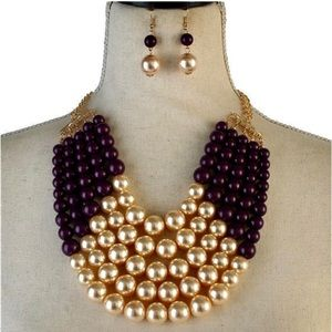 Jewelry - Pearl 5 Lines Necklace set